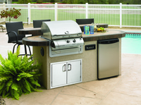 GRILLS & OUTDOOR KITCHENS St. Martin 8 ft. Island w/Slate Tile & Ameristone Tan Stucco